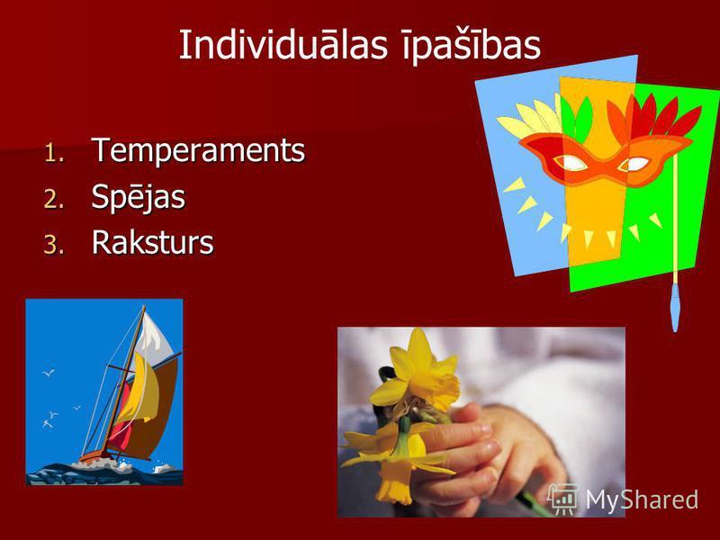 Individuālas īpašības 1. Temperaments 2. Spējas 3. Raksturs