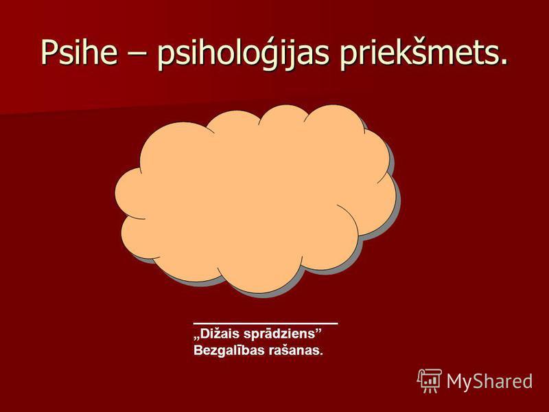 Psihe – psiholoģijas priekšmets. Dižais sprādziens Bezgalības rašanas.