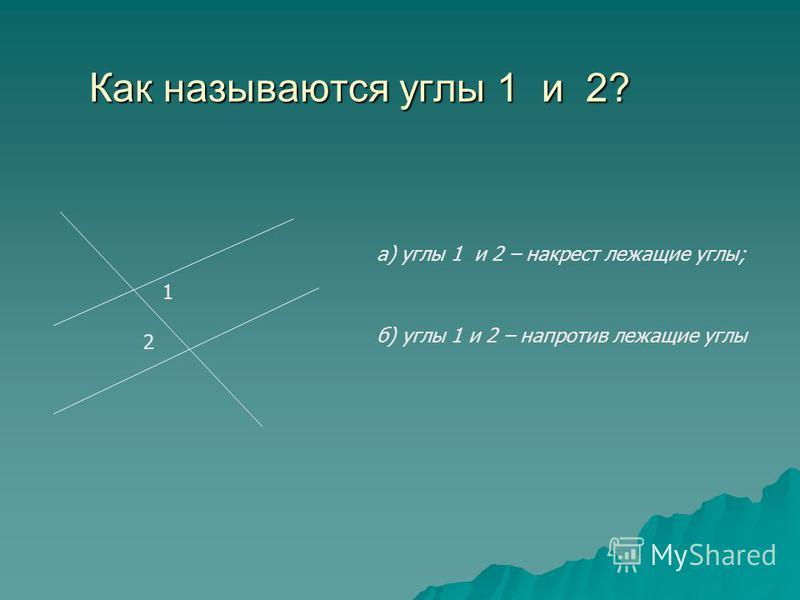 Как называются углы 1 и 2? 1 2 а) углы 1 и 2 – накрест лежащие углы; б) углы 1 и 2 – напротив лежащие углы