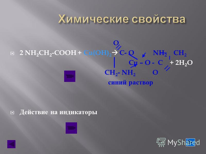 O 2 NH 2 CH 2 -COOH + Cu(OH) 2 C- O NH 2 CH 2 Cu – O - C + 2H 2 O CH 2 - NH 2 O синий раствор Действие на индикаторы