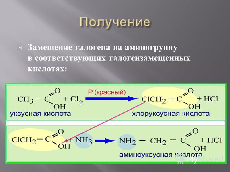 Замещение галогена на аминогруппу в соответствующих галогензамещенных кислотах :
