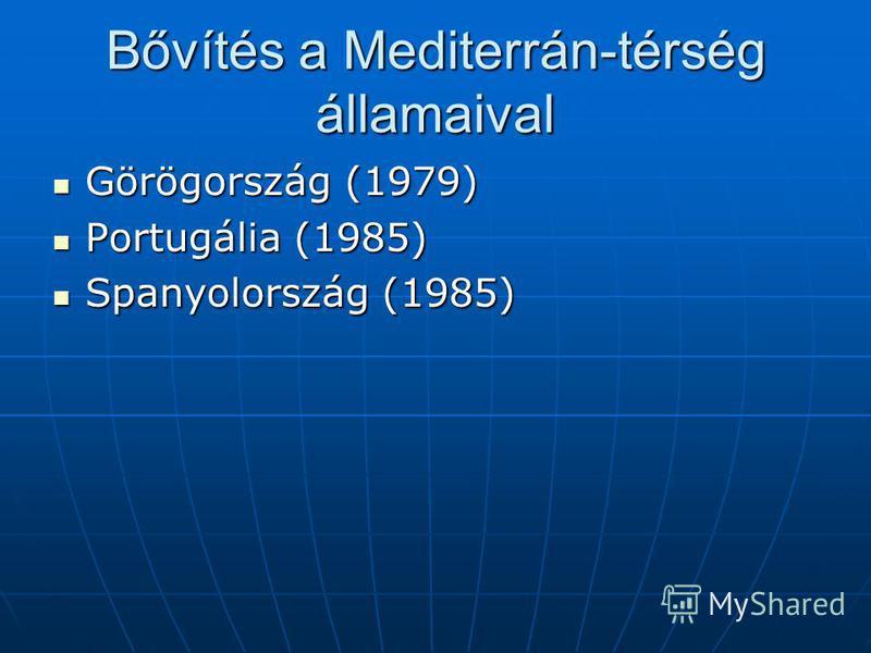 Bővítés a Mediterrán-térség államaival Görögország (1979) Portugália (1985) Spanyolország (1985)