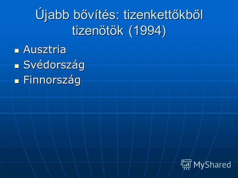 Újabb bővítés: tizenkettőkből tizenötök (1994) Ausztria Ausztria Svédország Svédország Finnország Finnország