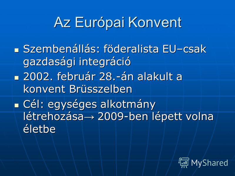 Az Európai Konvent Szembenállás: föderalista EU–csak gazdasági integráció Szembenállás: föderalista EU–csak gazdasági integráció 2002. február 28.-án alakult a konvent Brüsszelben 2002. február 28.-án alakult a konvent Brüsszelben Cél: egységes alkot