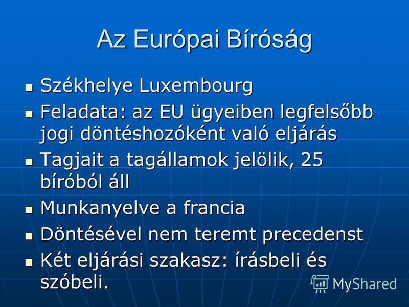 Az Európai Bíróság Székhelye Luxembourg Székhelye Luxembourg Feladata: az EU ügyeiben legfelsőbb jogi döntéshozóként való eljárás Feladata: az EU ügyeiben legfelsőbb jogi döntéshozóként való eljárás Tagjait a tagállamok jelölik, 25 bíróból áll Tagjai