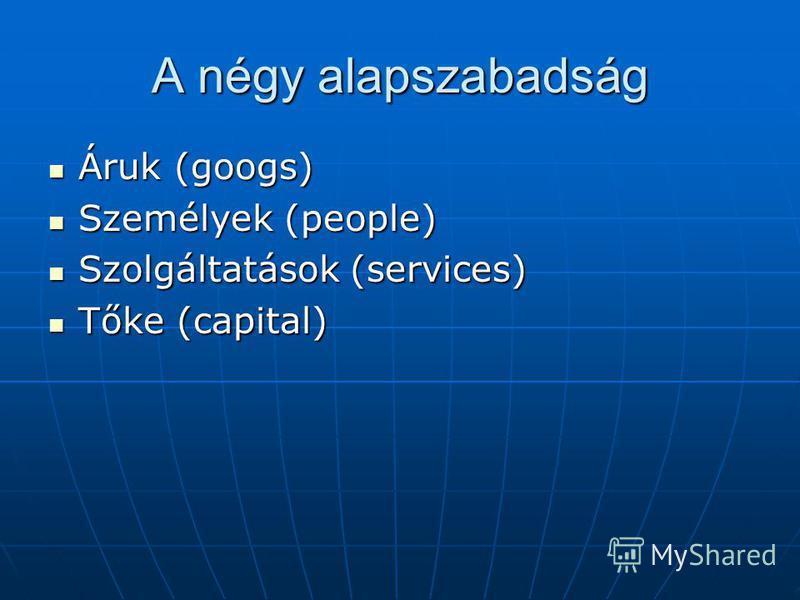 A négy alapszabadság Áruk (googs) Áruk (googs) Személyek (people) Személyek (people) Szolgáltatások (services) Szolgáltatások (services) Tőke (capital) Tőke (capital)