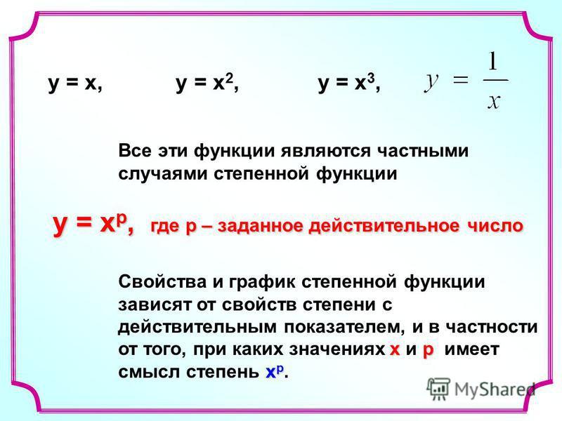 Все эти функции являются частными случаями степенной функции у = х р, где р – заданное действительное число у = х р, где р – заданное действительное число хр х р Свойства и график степенной функции зависят от свойств степени с действительным показате