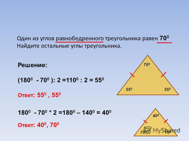Один из углов равнобедренного треугольника равен 70 0 Найдите остальные углы треугольника. Решение: (180 0 - 70 0 ): 2 =110 0 : 2 = 55 0 Ответ : 55 0, 55 0 180 0 - 70 0 * 2 =180 0 – 140 0 = 40 0 Ответ : 40 0, 70 0 70 0 55 0 40 0 70 0