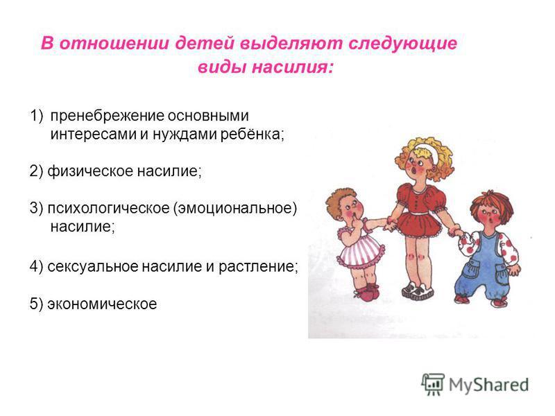 В отношении детей выделяют следующие виды насилия: 1)пренебрежение основными интересами и нуждами ребёнка; 2) физическое насилие; 3) психологическое (эмоциональное) насилие; 4) сексуальное насилие и растление; 5) экономическое