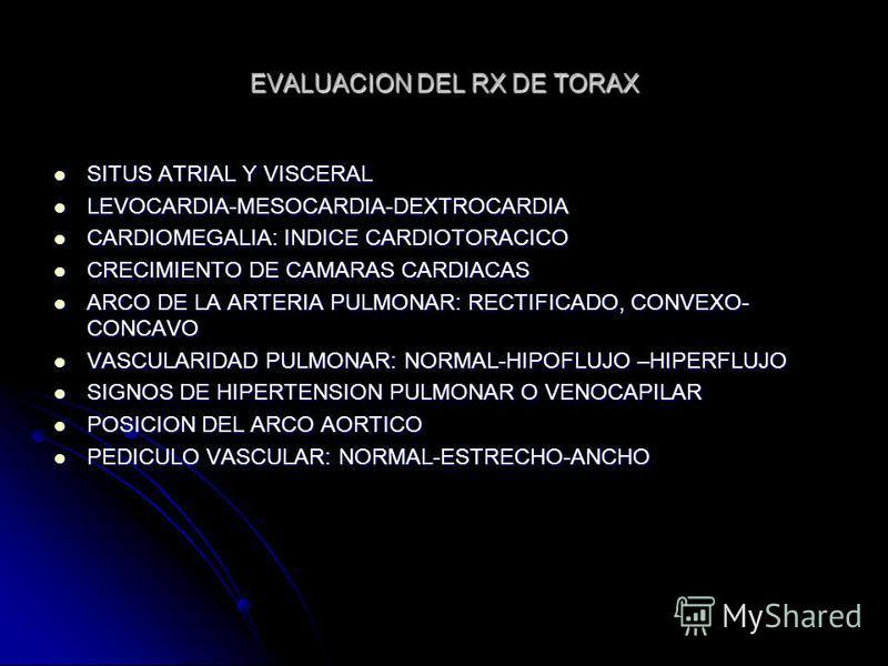 EVALUACION DEL RX DE TORAX SITUS ATRIAL Y VISCERAL SITUS ATRIAL Y VISCERAL LEVOCARDIA-MESOCARDIA-DEXTROCARDIA LEVOCARDIA-MESOCARDIA-DEXTROCARDIA CARDIOMEGALIA: INDICE CARDIOTORACICO CARDIOMEGALIA: INDICE CARDIOTORACICO CRECIMIENTO DE CAMARAS CARDIACA