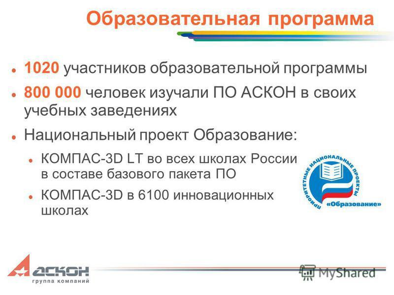 Образовательная программа 1020 участников образовательной программы 800 000 человек изучали ПО АСКОН в своих учебных заведениях Национальный проект Образование: КОМПАС-3D LT во всех школах России в составе базового пакета ПО КОМПАС-3D в 6100 инноваци