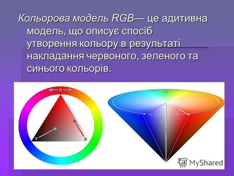Кольорова модель RGB це адитивна модель, що описує спосіб утворення кольору в результаті накладання червоного, зеленого та синього кольорів.