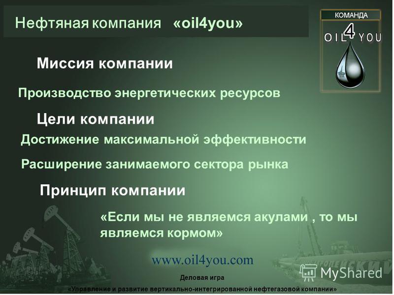 Нефтяная компания «oil4you» Итоги работы НК «OIL 4 YOU» за 2003 – 2005 год Деловая игра «Управление и развитие вертикально-интегрированной нефтегазовой компании»