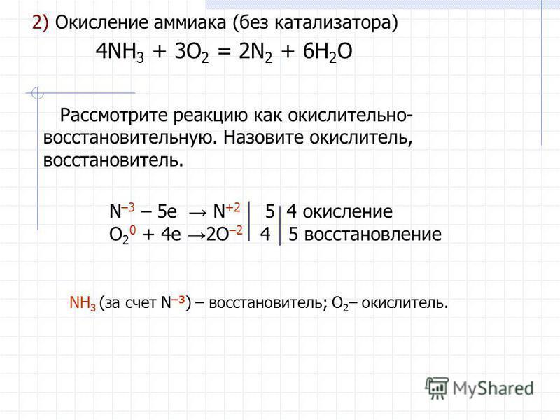 2) Окисление аммиака (без катализатора) 4NH 3 + 3O 2 = 2N 2 + 6H 2 O Рассмотрите реакцию как окислительно- восстановительную. Назовите окислитель, восстановитель. N –3 – 5e N +2 5 4 окисление O 2 0 + 4e 2O –2 4 5 восстановление NH 3 (за счет N –3 ) –