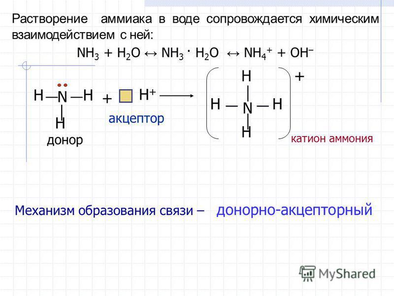 NH 3 + H 2 O NH 3 · H 2 O NH 4 + + OH – Растворение аммиака в воде сопровождается химическим взаимодействием с ней: N H+H+ + H HH HH H H N + донор акцептор катион аммония Механизм образования связи – донорно-акцепторный