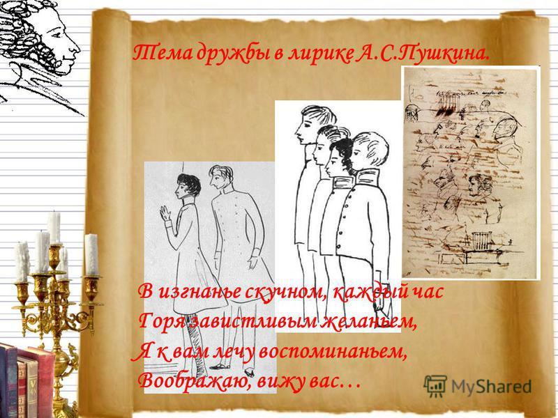 В изгнанье скучном, каждый час Горя завистливым желаньем, Я к вам лечу воспоминаньем, Воображаю, вижу вас… Тема дружбы в лирике А.С.Пушкина.