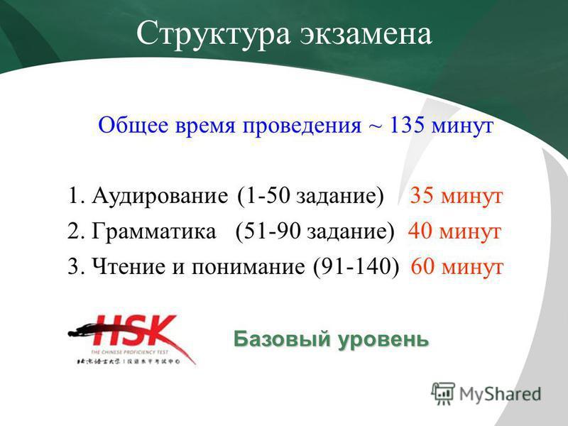 Структура экзамена Общее время проведения ~ 135 минут 1. Аудирование (1-50 задание) 35 минут 2. Грамматика (51-90 задание) 40 минут 3. Чтение и понимание (91-140) 60 минут Базовый уровень