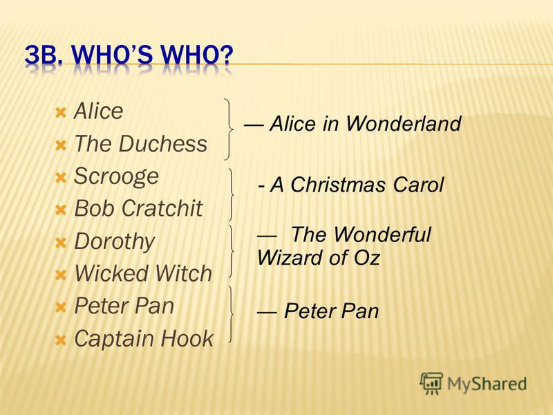 1.Alice in Wonderland 2.A Christmas Carol 3.The Wonderful Wizard of Oz 4.Peter Pan