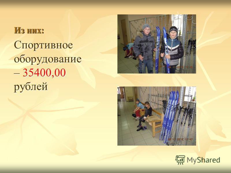 Из них: Спортивное оборудование – 35400,00 рублей