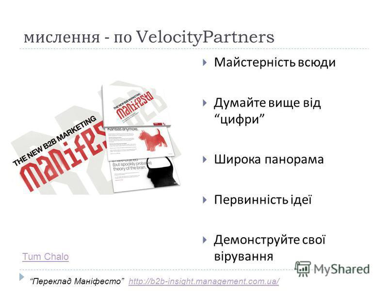 мислення - по VelocityPartners Майстерність всюди Думайте вище від цифри Широка панорама Первинність ідеї Демонструйте свої вірування Переклад Маніфесто http://b2b-insight.management.com.ua/http://b2b-insight.management.com.ua/ Tum Chalo