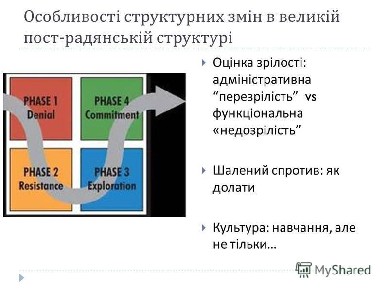 Особливості структурних змін в великій пост - радянській структурі Оцінка зрілості : адміністративна перезрілість vs функціональна « недозрілість Шалений спротив : як долати Культура : навчання, але не тільки …