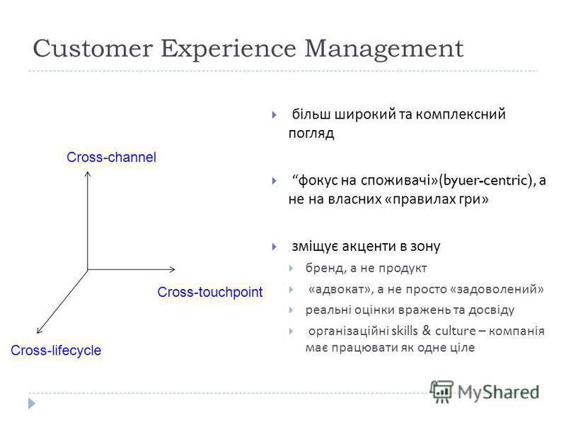 32 Cross-touchpoint Cross-channel Cross-lifecycle більш широкий та комплексний погляд фокус на споживачі »(byuer-centric), а не на власних « правилах гри » зміщує акценти в зону бренд, а не продукт « адвокат », а не просто « задоволений » реальні оці