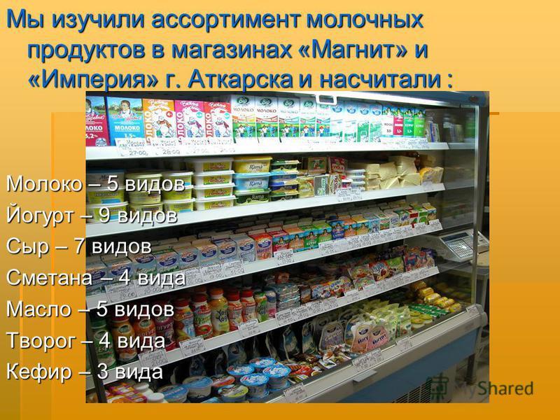 Мы изучили ассортимент молочных продуктов в магазинах «Магнит» и «Империя» г. Аткарска и насчитали : Молоко – 5 видов Йогурт – 9 видов Сыр – 7 видов Сметана – 4 вида Масло – 5 видов Творог – 4 вида Кефир – 3 вида