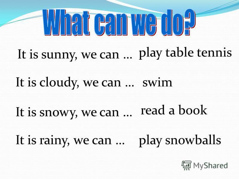 It is sunny, we can … It is cloudy, we can … It is snowy, we can … It is rainy, we can … swim read a book play snowballs play table tennis