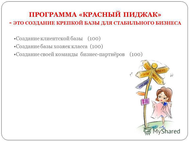 ПРОГРАММА «КРАСНЫЙ ПИДЖАК» - ЭТО СОЗДАНИЕ КРЕПКОЙ БАЗЫ ДЛЯ СТАБИЛЬНОГО БИЗНЕСА Создание клиентской базы (100) Создание базы хозяек класса (100) Создание своей команды бизнес-партнёров (100)
