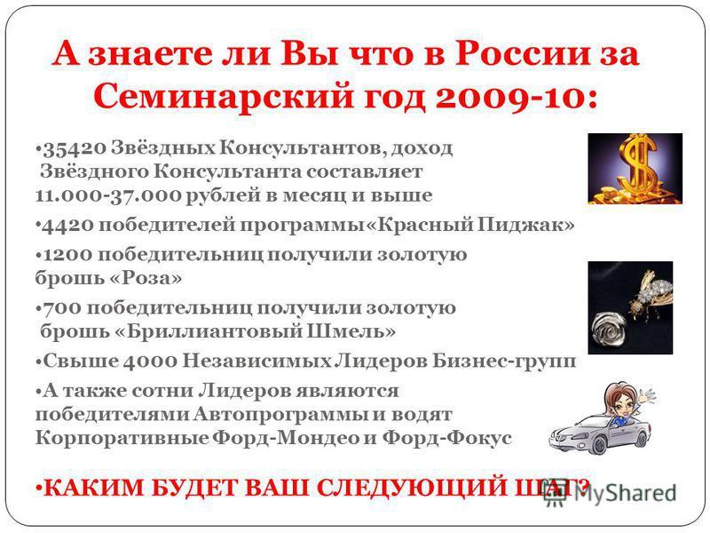 А знаете ли Вы что в России за Семинарский год 2009-10: 35420 Звёздных Консультантов, доход Звёздного Консультанта составляет 11.000-37.000 рублей в месяц и выше 4420 победителей программы«Красный Пиджак» 1200 победительниц получили золотую брошь «Ро