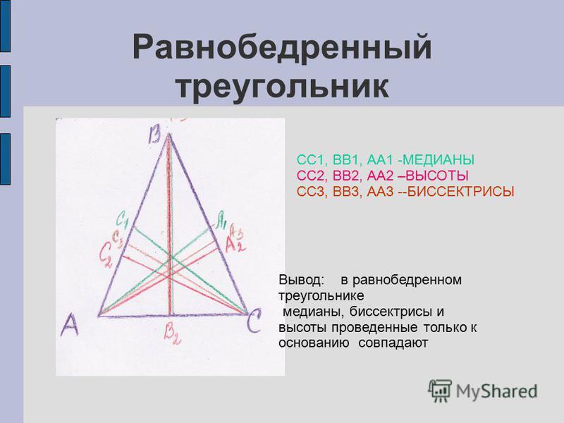 Равнобедренный треугольник СС1, ВВ1, АА1 -МЕДИАНЫ СС2, ВВ2, АА2 –ВЫСОТЫ СС3, ВВ3, АА3 --БИССЕКТРИСЫ Вывод: в равнобедренном треугольнике медианы, биссектрисы и высоты проведенные только к основанию совпадают