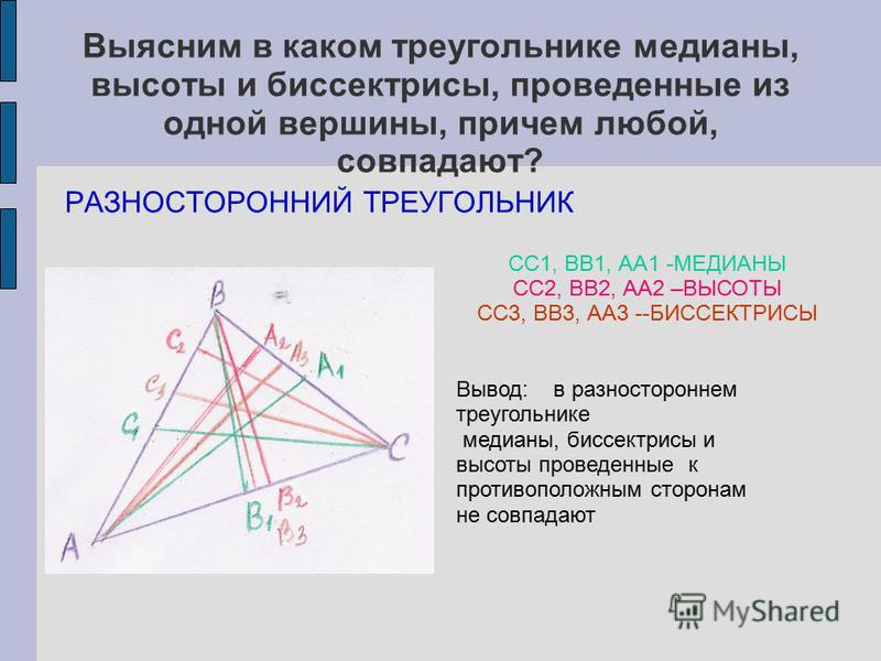 Выясним в каком треугольнике медианы, высоты и биссектрисы, проведенные из одной вершины, причем любой, совпадают? РАЗНОСТОРОННИЙ ТРЕУГОЛЬНИК СС1, ВВ1, АА1 -МЕДИАНЫ СС2, ВВ2, АА2 –ВЫСОТЫ СС3, ВВ3, АА3 --БИССЕКТРИСЫ Вывод: в разностороннем треугольник