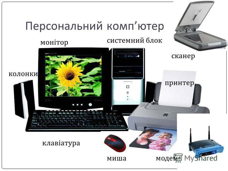 Персональний компютер монітор системний блок клавіатура принтер миша модем сканер колонки