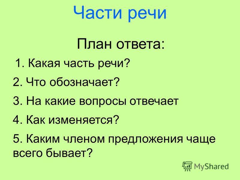 Части речи План ответа: 1. Какая часть речи? 2. Что обозначает? 3. На какие вопросы отвечает 4. Как изменяется? 5. Каким членом предложения чаще всего бывает?