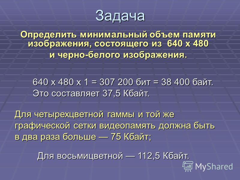 Задача Определить минимальный объем памяти изображения, состоящего из 640 х 480 и черно-белого изображения. 640 х 480 x 1 = 307 200 бит = 38 400 байт. Это составляет 37,5 Кбайт. Для четырехцветной гаммы и той же графической сетки видеопамять должна б