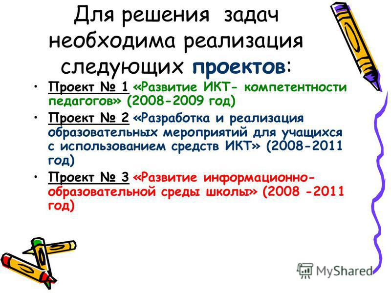 Для решения задач необходима реализация следующих проектов: Проект 1 «Развитие ИКТ- компетентности педагогов» (2008-2009 год) Проект 2 «Разработка и реализация образовательных мероприятий для учащихся с использованием средств ИКТ» (2008-2011 год) Про