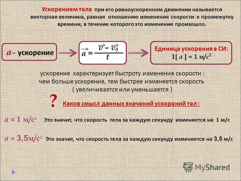 Ускорением тела при его равноускоренном движении называется векторная величина, равная отношению изменения скорости к промежутку времени, в течение которого это изменение произошло. а – ускорение v – v 0 t а = Единица ускорения в СИ: 1[ a ] = 1 м/с 2