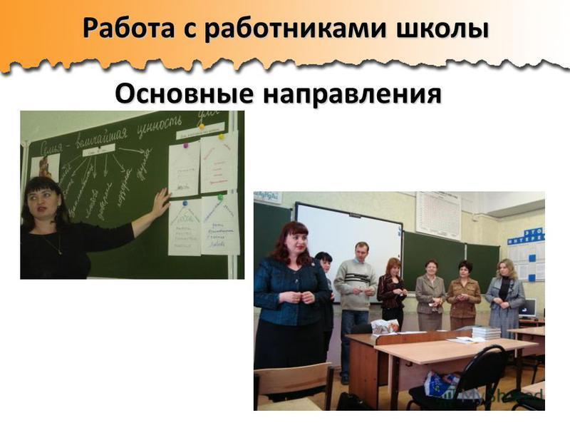 Работа с работниками школы Основные направления Основные направления