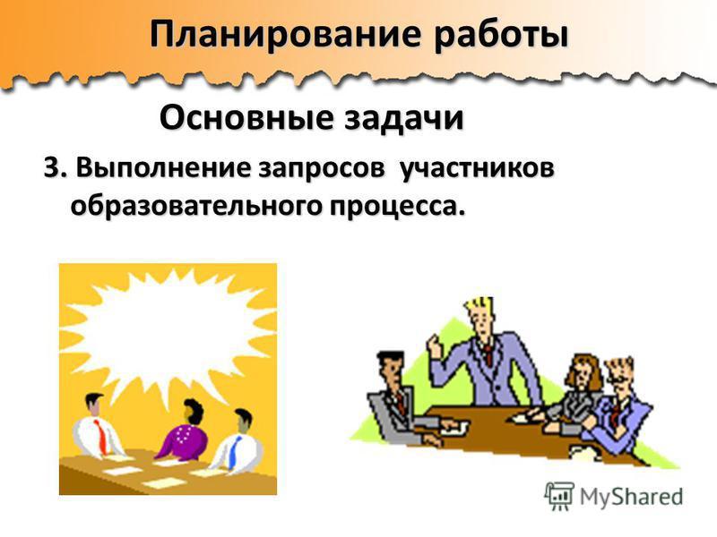 Планирование работы Основные задачи 3. Выполнение запросов участников образовательного процесса.