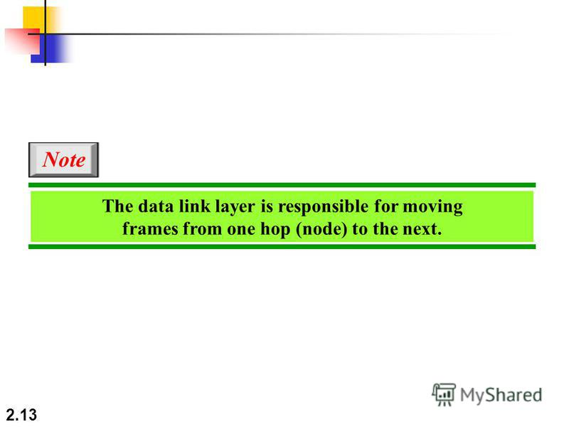 2.13 The data link layer is responsible for moving frames from one hop (node) to the next. Note