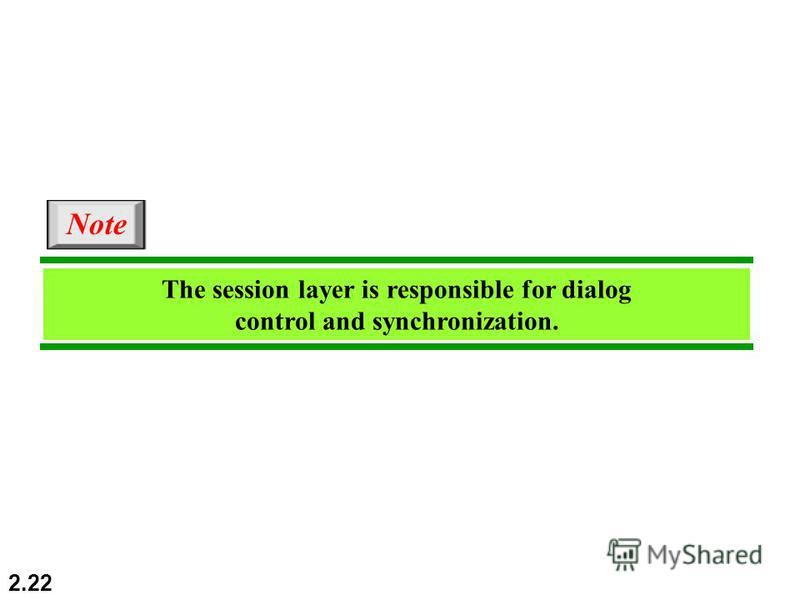 2.22 The session layer is responsible for dialog control and synchronization. Note