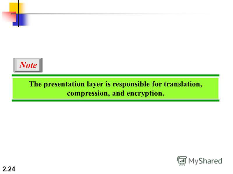 2.24 The presentation layer is responsible for translation, compression, and encryption. Note