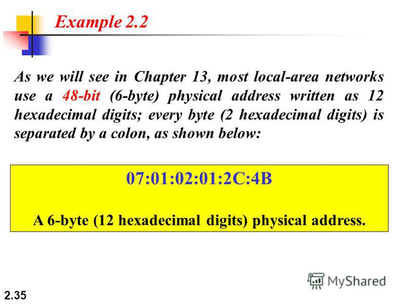2.35 As we will see in Chapter 13, most local-area networks use a 48-bit (6-byte) physical address written as 12 hexadecimal digits; every byte (2 hexadecimal digits) is separated by a colon, as shown below: Example 2.2 07:01:02:01:2C:4B A 6-byte (12