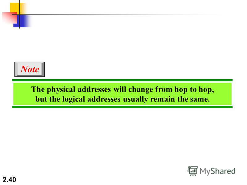 2.40 The physical addresses will change from hop to hop, but the logical addresses usually remain the same. Note