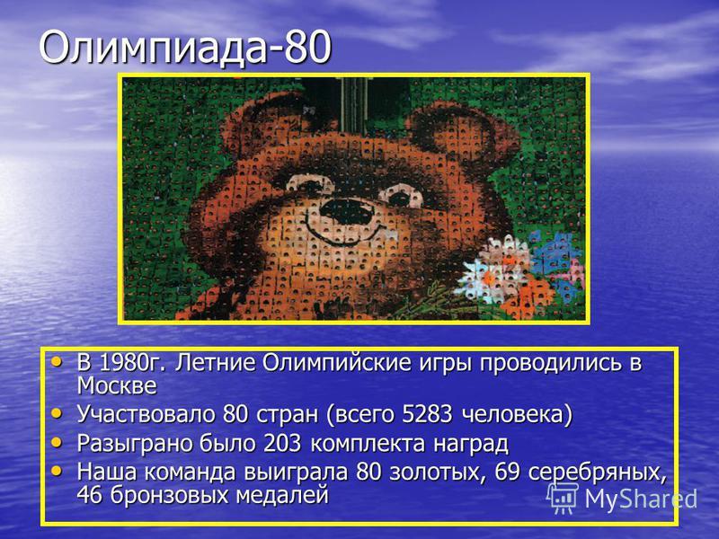 Олимпиада-80 В 1980 г. Летние Олимпийские игры проводились в Москве В 1980 г. Летние Олимпийские игры проводились в Москве Участвовало 80 стран (всего 5283 человека) Участвовало 80 стран (всего 5283 человека) Разыграно было 203 комплекта наград Разыг