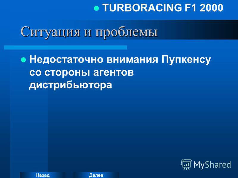 Далее Назад TURBORACING F1 2000 Ситуация и проблемы Недостаточно внимания Пупкенсу со стороны агентов дистрибьютора