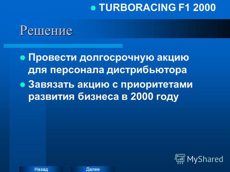 Далее Назад TURBORACING F1 2000Решение Провести долгосрочную акцию для персонала дистрибьютора Завязать акцию с приоритетами развития бизнеса в 2000 году