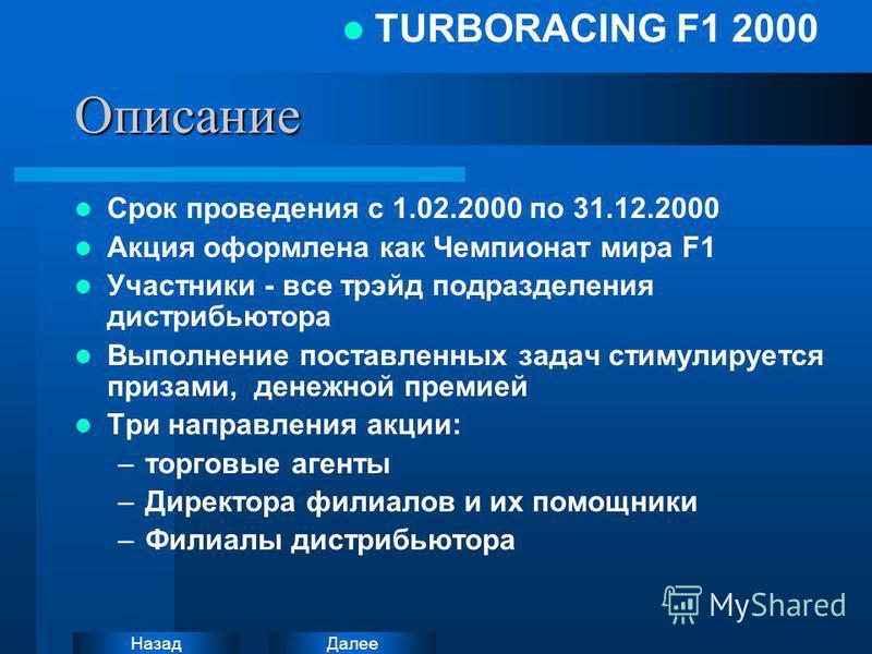 Далее Назад TURBORACING F1 2000Описание Срок проведения с 1.02.2000 по 31.12.2000 Акция оформлена как Чемпионат мира F1 Участники - все трейд подразделения дистрибьютора Выполнение поставленных задач стимулируется призами, денежной премией Три направ