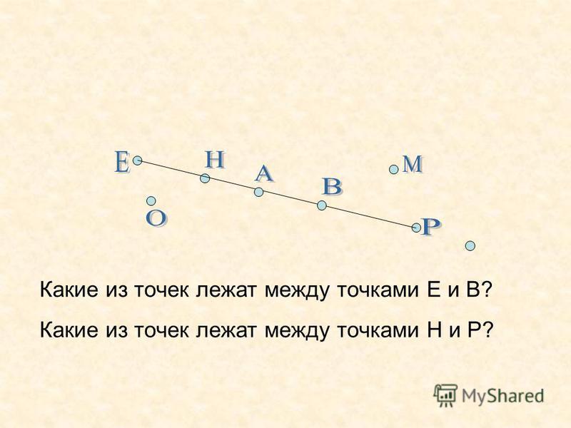 Какие из точек лежат между точками Е и В? Какие из точек лежат между точками Н и Р?