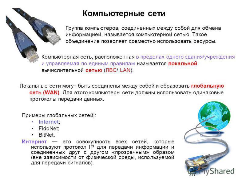 Компьютерные сети Группа компьютеров, соединенных между собой для обмена информацией, называется компьютерной сетью. Такое объединение позволяет совместно использовать ресурсы. Компьютерная сеть, расположенная в пределах одного здания/учреждения и уп
